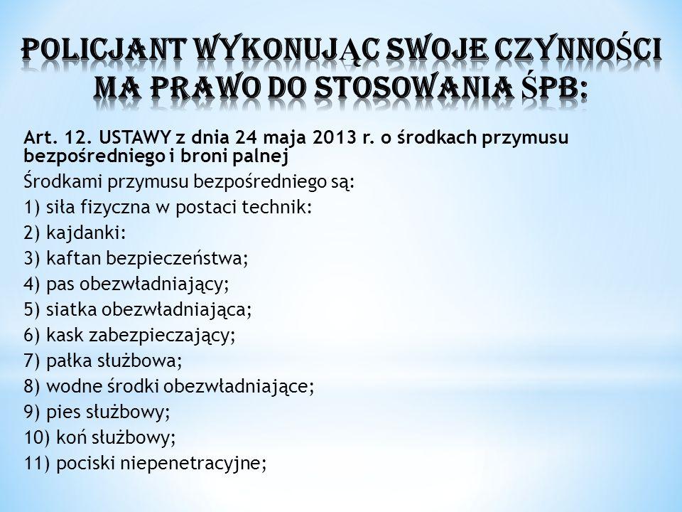 Art. 12. USTAWY z dnia 24 maja 2013 r. o środkach przymusu bezpośredniego i broni palnej Środkami przymusu bezpośredniego są: 1) siła fizyczna w posta
