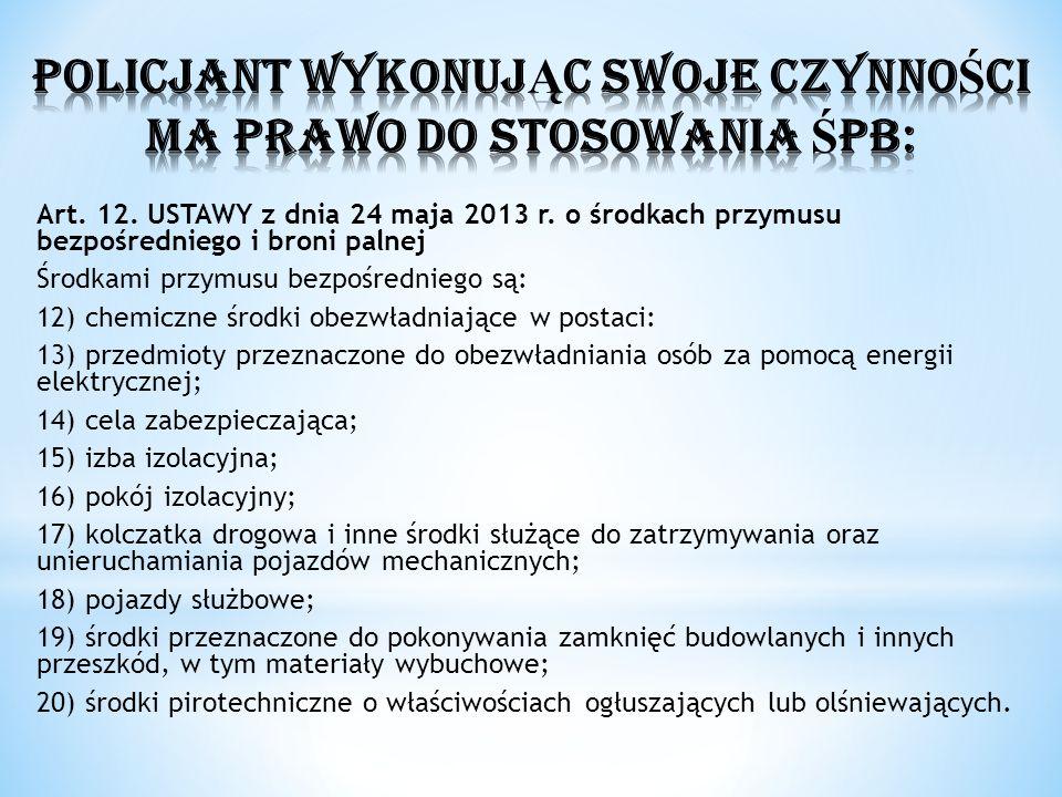 Art. 12. USTAWY z dnia 24 maja 2013 r. o środkach przymusu bezpośredniego i broni palnej Środkami przymusu bezpośredniego są: 12) chemiczne środki obe