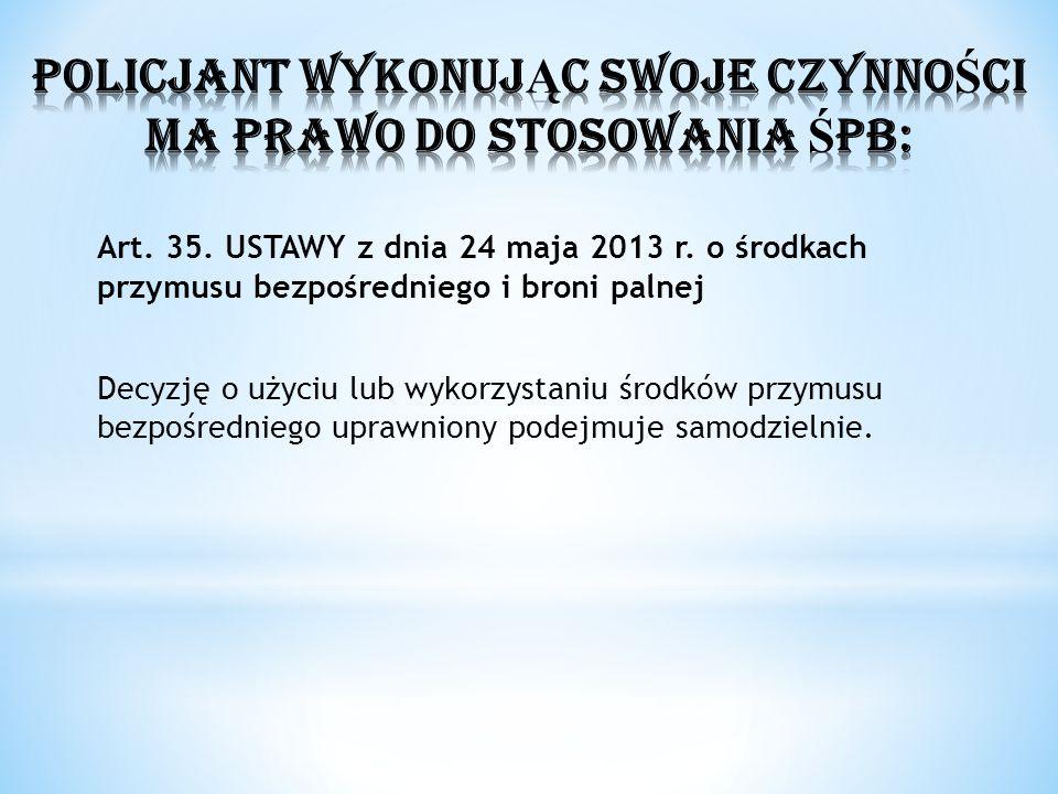 Art. 35. USTAWY z dnia 24 maja 2013 r. o środkach przymusu bezpośredniego i broni palnej Decyzję o użyciu lub wykorzystaniu środków przymusu bezpośred