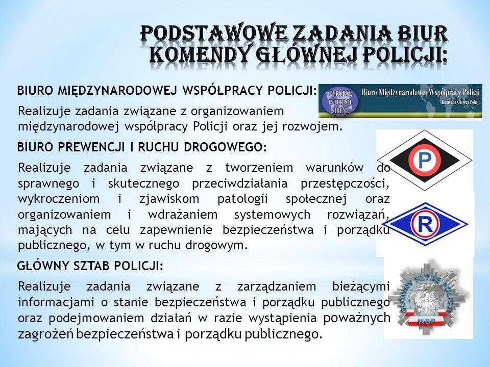 BIURO MIĘDZYNARODOWEJ WSPÓŁPRACY POLICJI: Realizuje zadania związane z organizowaniem międzynarodowej współpracy Policji oraz jej rozwojem. BIURO PREW