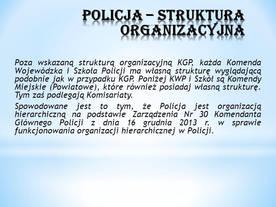 Poza wskazaną strukturą organizacyjną KGP, każda Komenda Wojewódzka i Szkoła Policji ma własną strukturę wyglądającą podobnie jak w przypadku KGP. Pon