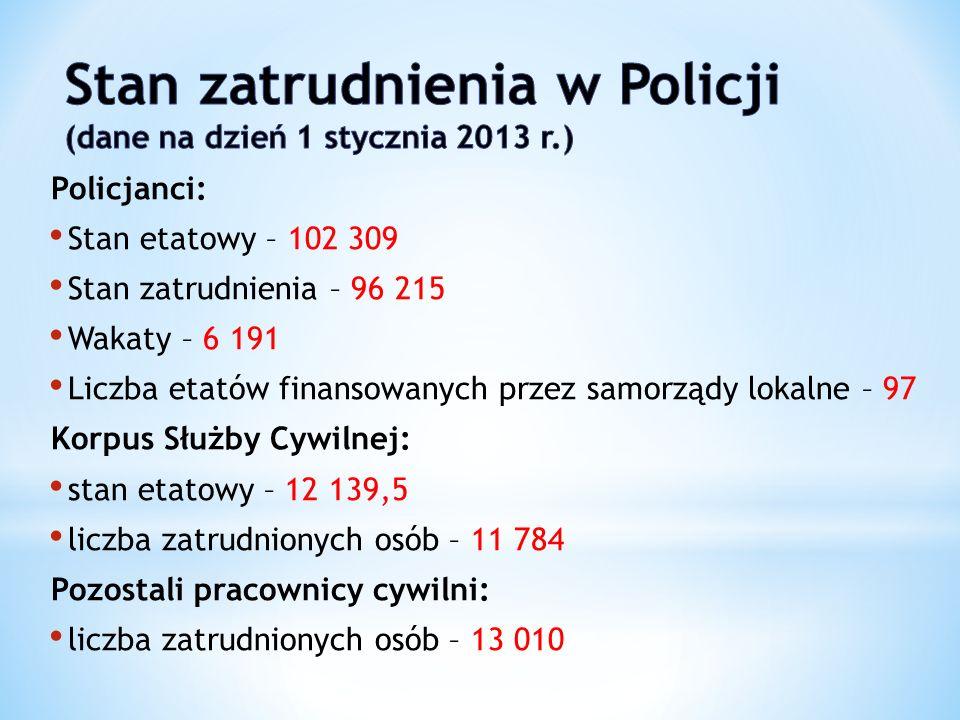 Policjanci: Stan etatowy – 102 309 Stan zatrudnienia – 96 215 Wakaty – 6 191 Liczba etatów finansowanych przez samorządy lokalne – 97 Korpus Służby Cy