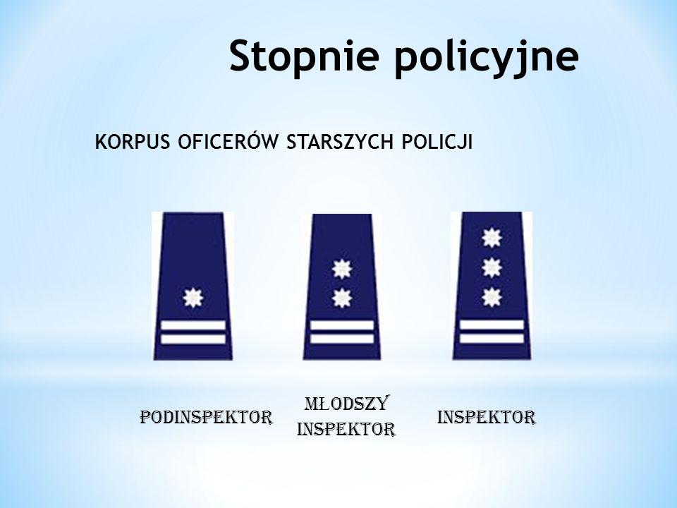 KORPUS OFICERÓW STARSZYCH POLICJI podINSPEKTOR M Ł ODSZY INSPEKTOR INSPEKTOR Stopnie policyjne
