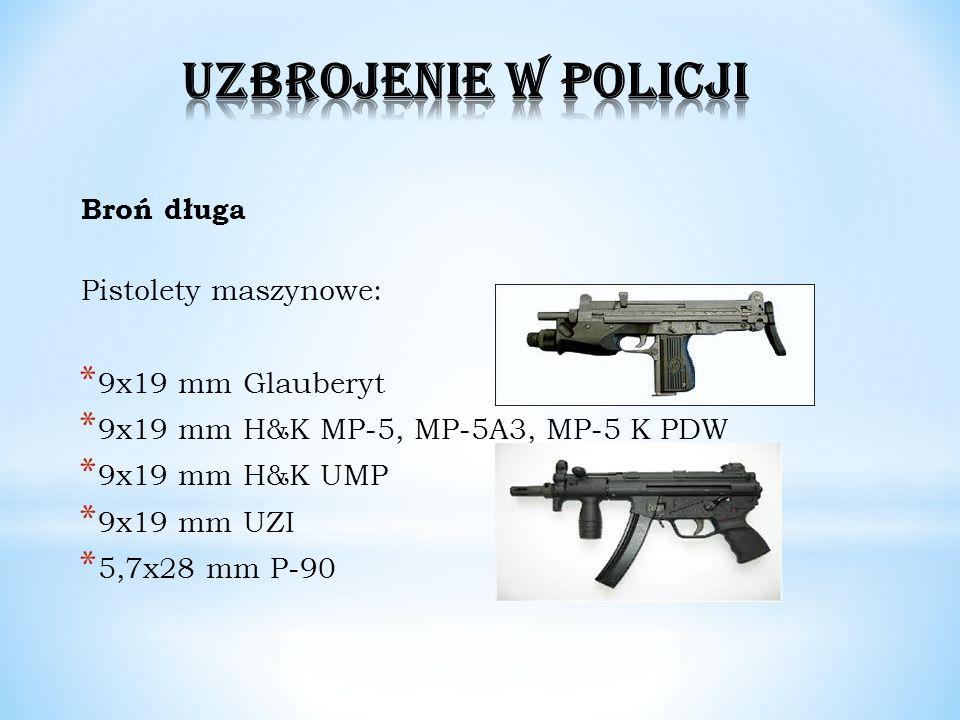 Broń długa Pistolety maszynowe: * 9x19 mm Glauberyt * 9x19 mm H&K MP-5, MP-5A3, MP-5 K PDW * 9x19 mm H&K UMP * 9x19 mm UZI * 5,7x28 mm P-90
