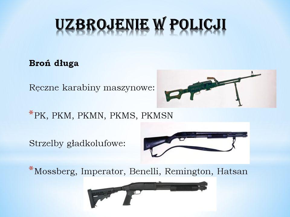 Broń długa Ręczne karabiny maszynowe: * PK, PKM, PKMN, PKMS, PKMSN Strzelby gładkolufowe: * Mossberg, Imperator, Benelli, Remington, Hatsan