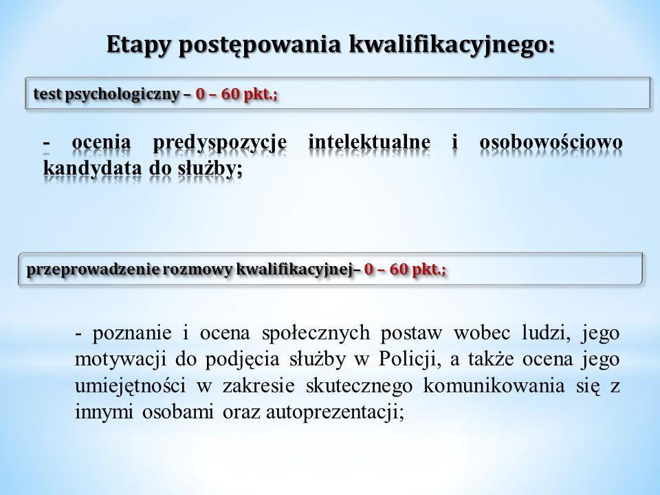 Etapy postępowania kwalifikacyjnego: test psychologiczny – 0 – 60 pkt.; przeprowadzenie rozmowy kwalifikacyjnej– 0 – 60 pkt.; - poznanie i ocena społe