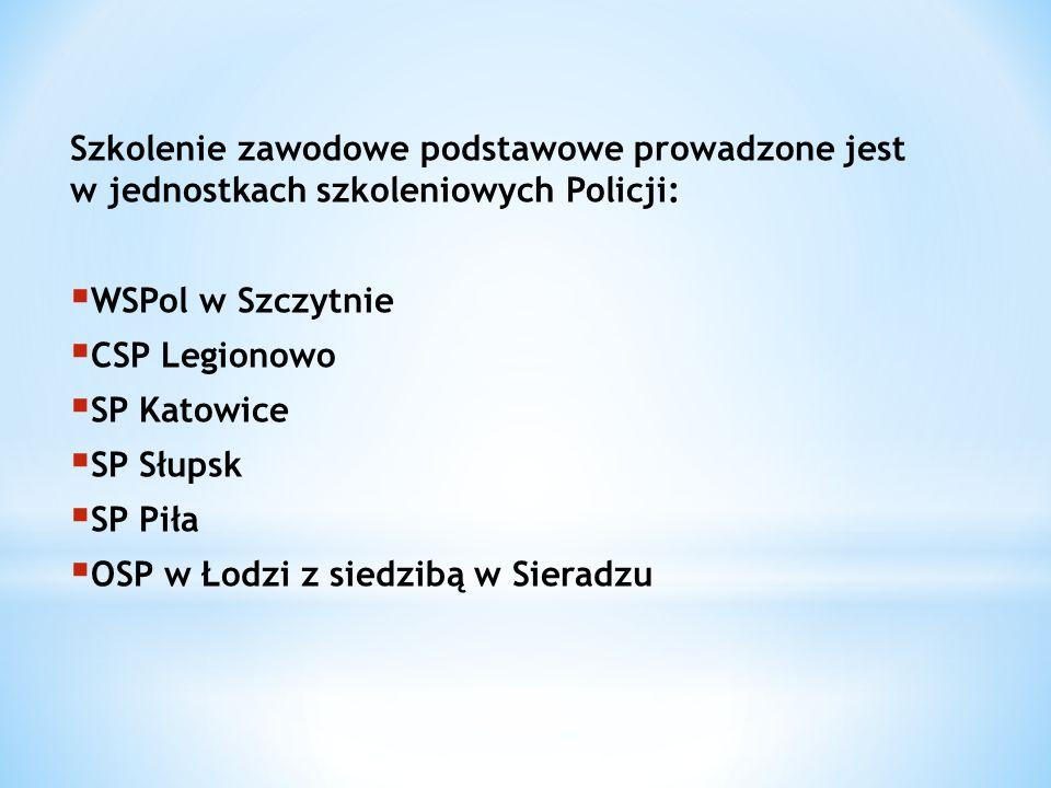Szkolenie zawodowe podstawowe prowadzone jest w jednostkach szkoleniowych Policji: WSPol w Szczytnie CSP Legionowo SP Katowice SP Słupsk SP Piła OSP w