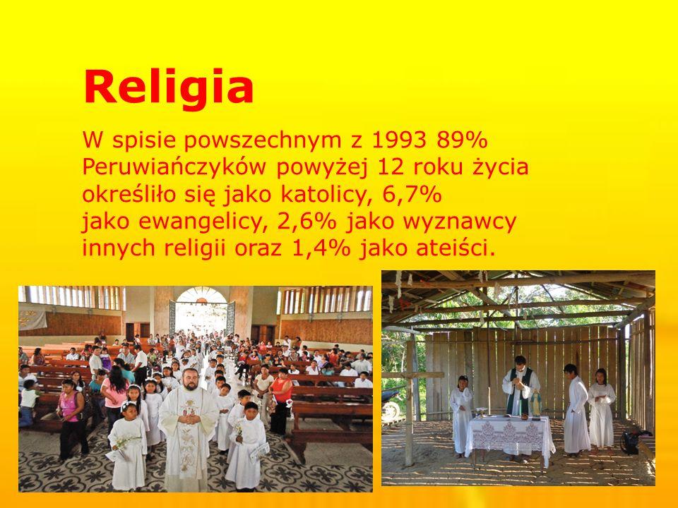 Religia W spisie powszechnym z 1993 89% Peruwiańczyków powyżej 12 roku życia określiło się jako katolicy, 6,7% jako ewangelicy, 2,6% jako wyznawcy innych religii oraz 1,4% jako ateiści.