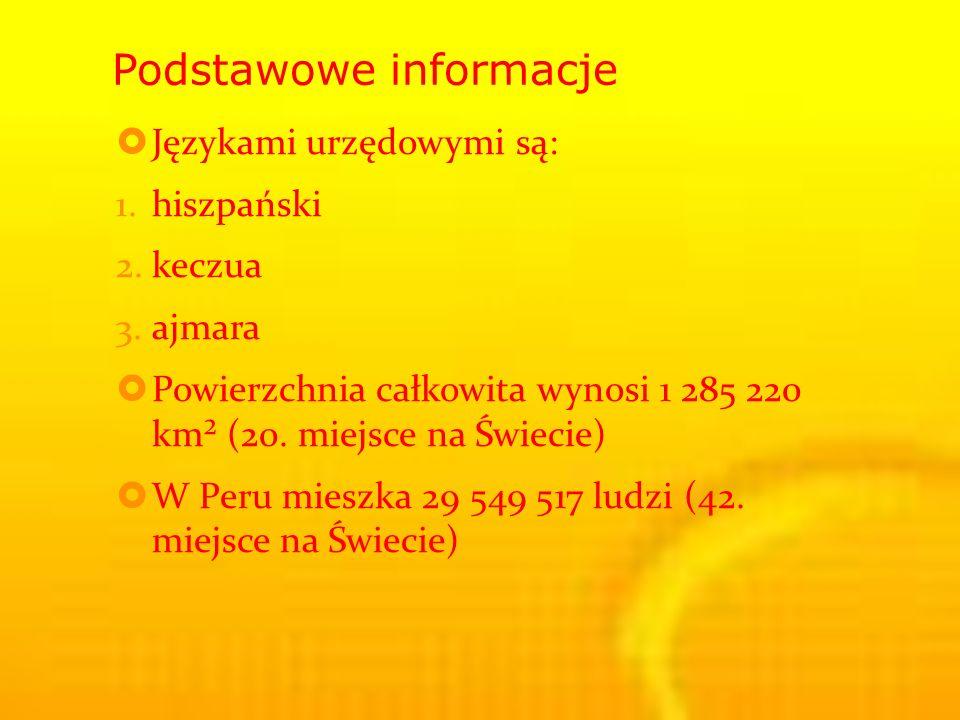 Podstawowe informacje Językami urzędowymi są: 1.hiszpański 2.keczua 3.ajmara Powierzchnia całkowita wynosi 1 285 220 km² (20.
