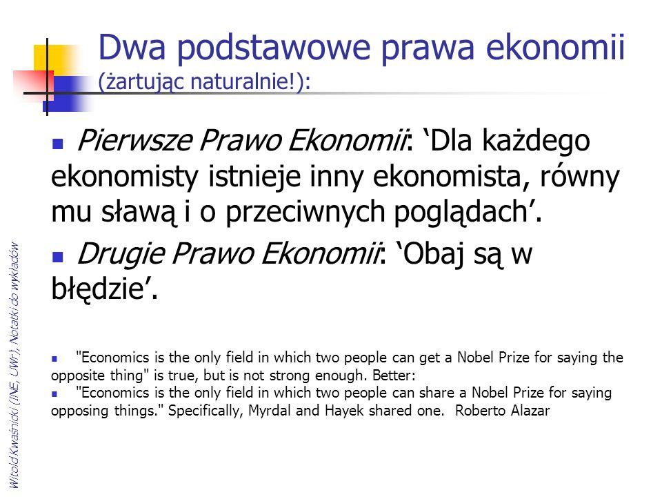 Witold Kwaśnicki (INE, UWr), Notatki do wykładów Dwa podstawowe prawa ekonomii (żartując naturalnie!): Pierwsze Prawo Ekonomii: Dla każdego ekonomisty