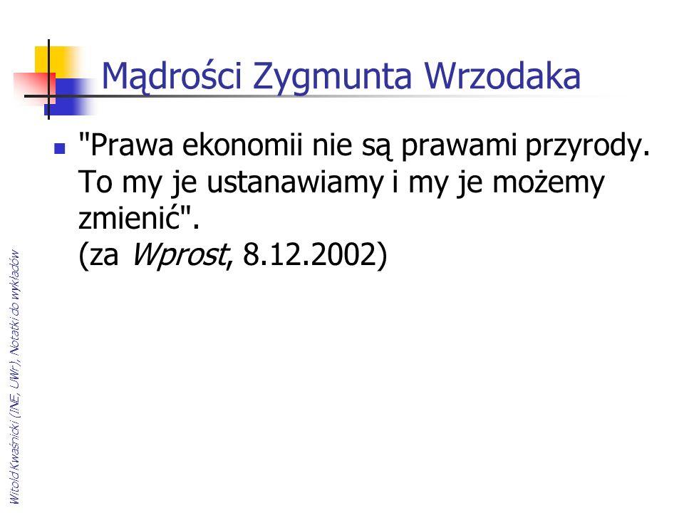 Witold Kwaśnicki (INE, UWr), Notatki do wykładów Mądrości Zygmunta Wrzodaka