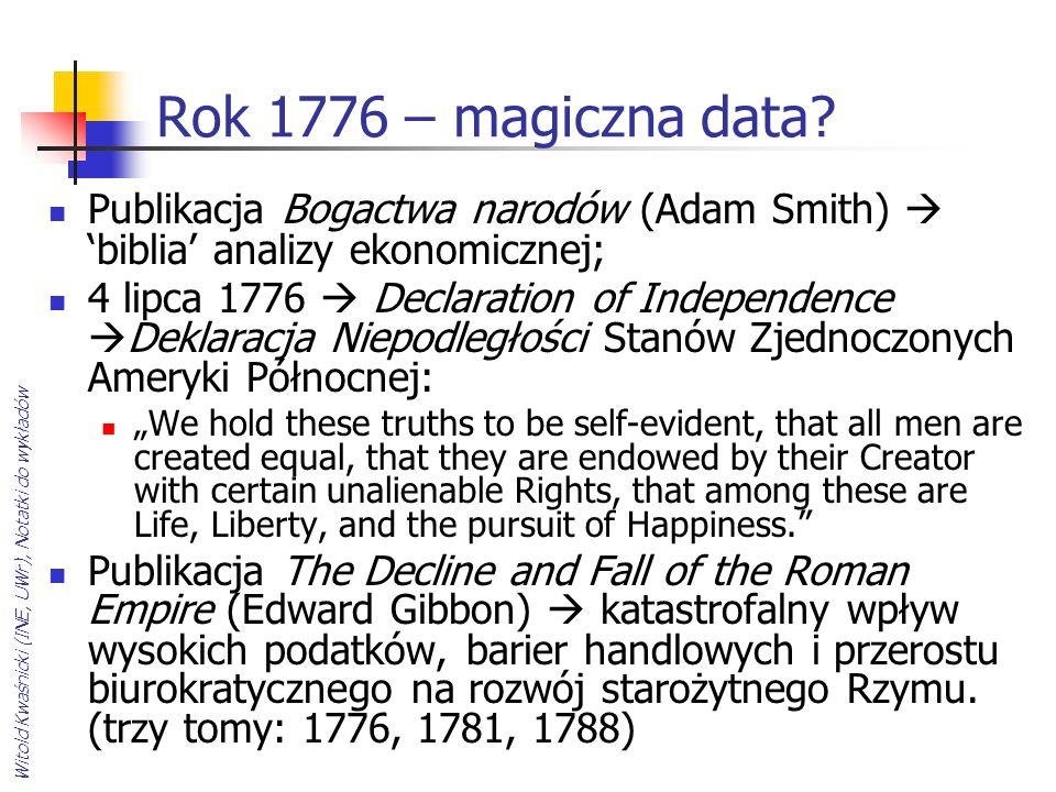 Witold Kwaśnicki (INE, UWr), Notatki do wykładów Rok 1776 – magiczna data? Publikacja Bogactwa narodów (Adam Smith) biblia analizy ekonomicznej; 4 lip