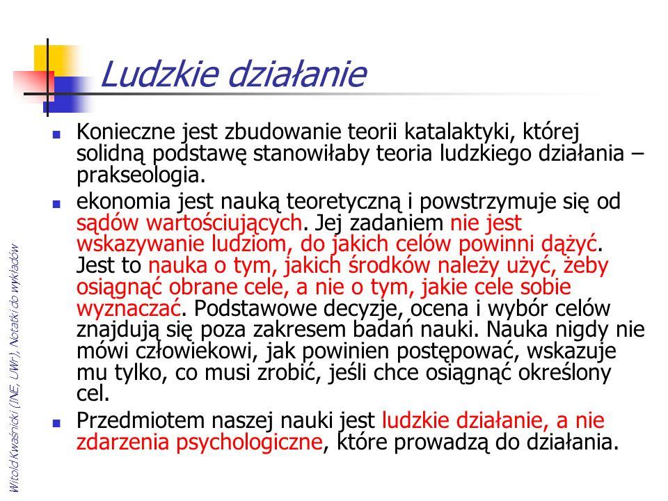 Witold Kwaśnicki (INE, UWr), Notatki do wykładów Ludzkie działanie Konieczne jest zbudowanie teorii katalaktyki, której solidną podstawę stanowiłaby t