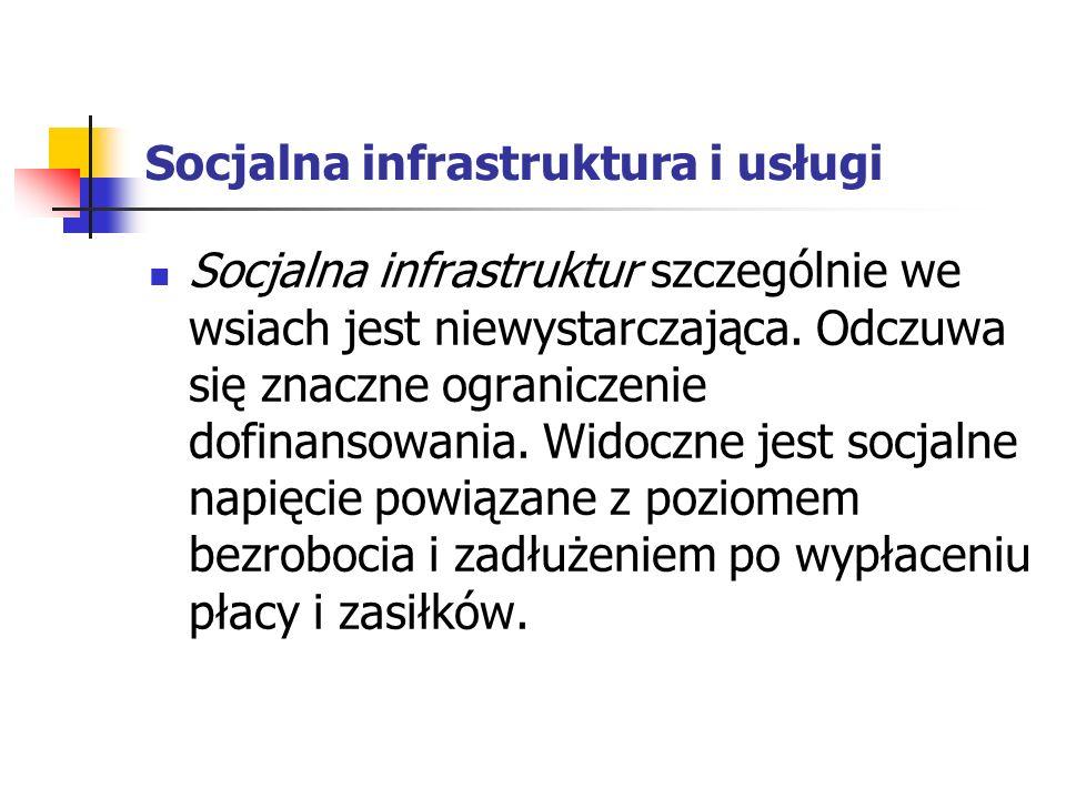 Socjalna infrastruktura i usługi Socjalna infrastruktur szczególnie we wsiach jest niewystarczająca.