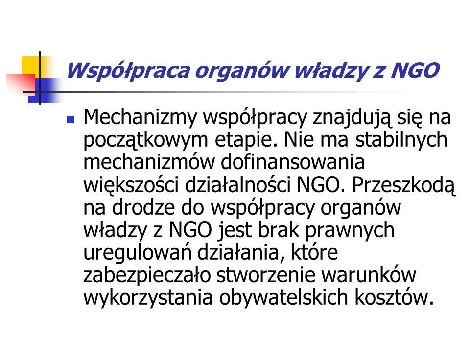 Współpraca organów władzy z NGO Mechanizmy współpracy znajdują się na początkowym etapie.