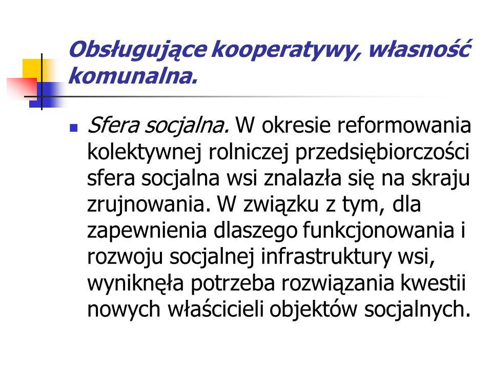 Obsługujące kooperatywy, własność komunalna.Sfera socjalna.