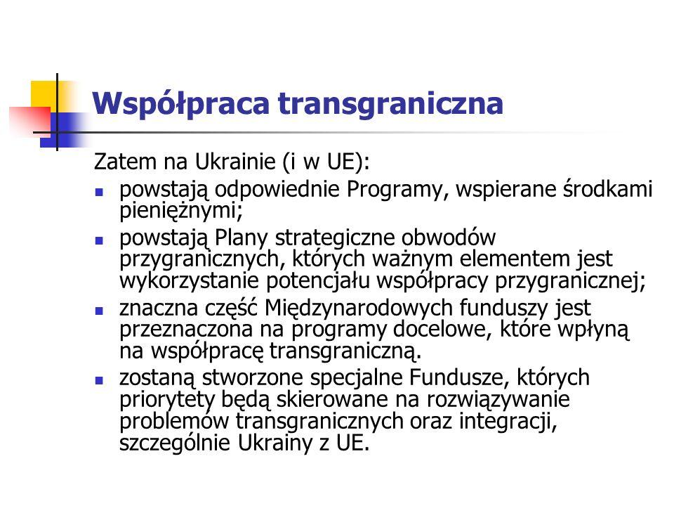 Współpraca transgraniczna Zatem na Ukrainie (i w UE): powstają odpowiednie Programy, wspierane środkami pieniężnymi; powstają Plany strategiczne obwodów przygranicznych, których ważnym elementem jest wykorzystanie potencjału współpracy przygranicznej; znaczna część Międzynarodowych funduszy jest przeznaczona na programy docelowe, które wpłyną na współpracę transgraniczną.
