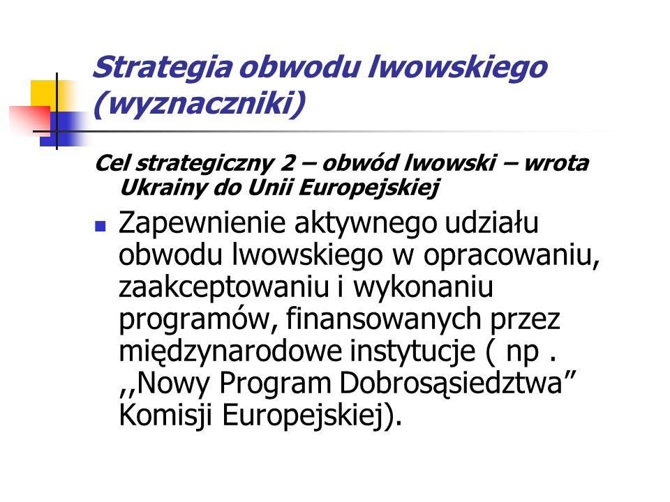Strategia obwodu lwowskiego (wyznaczniki) Cel strategiczny 2 – obwód lwowski – wrota Ukrainy do Unii Europejskiej Zapewnienie aktywnego udziału obwodu lwowskiego w opracowaniu, zaakceptowaniu i wykonaniu programów, finansowanych przez międzynarodowe instytucje ( np.,,Nowy Program Dobrosąsiedztwa Komisji Europejskiej).