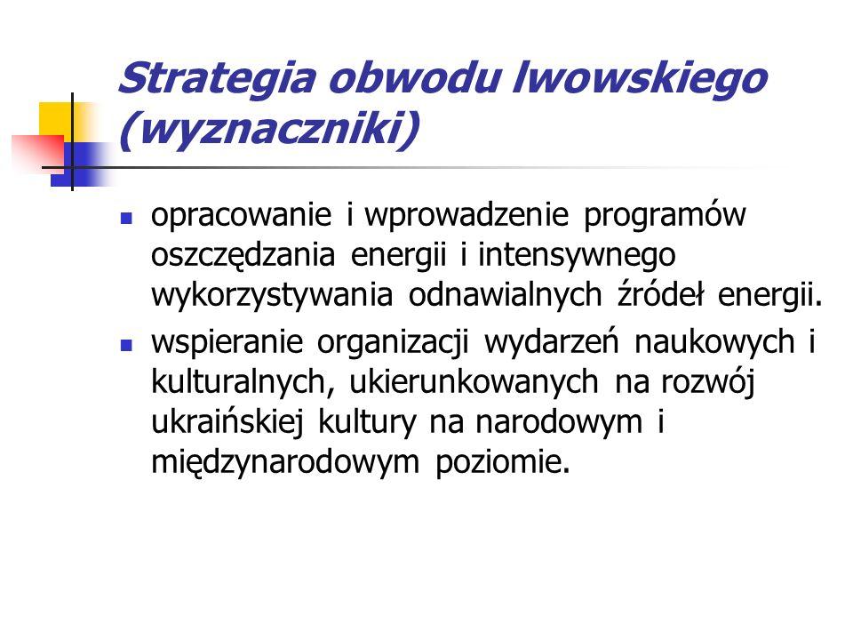 Strategia obwodu lwowskiego (wyznaczniki) opracowanie i wprowadzenie programów oszczędzania energii i intensywnego wykorzystywania odnawialnych źródeł energii.