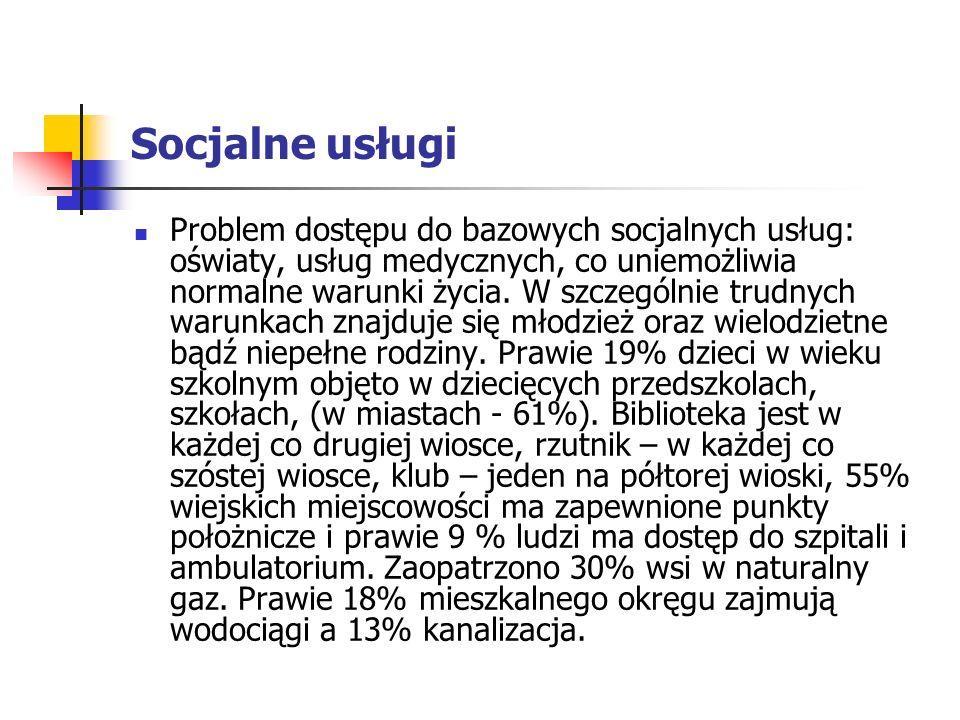 Socjalne usługi Problem dostępu do bazowych socjalnych usług: oświaty, usług medycznych, co uniemożliwia normalne warunki życia.
