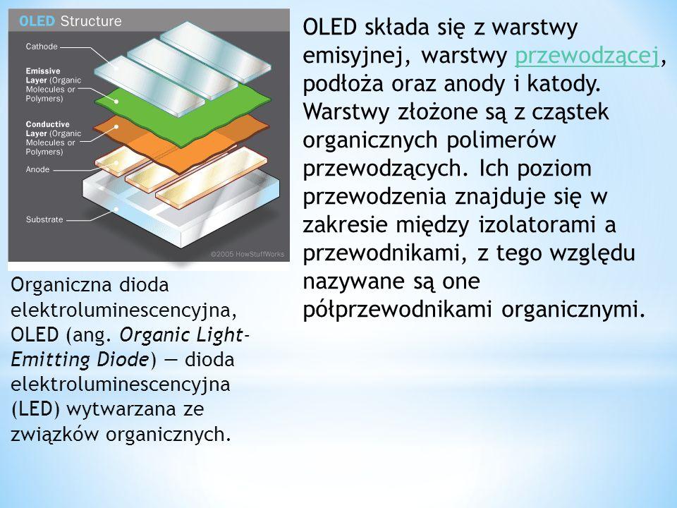 Organiczna dioda elektroluminescencyjna, OLED (ang. Organic Light- Emitting Diode) dioda elektroluminescencyjna (LED) wytwarzana ze związków organiczn