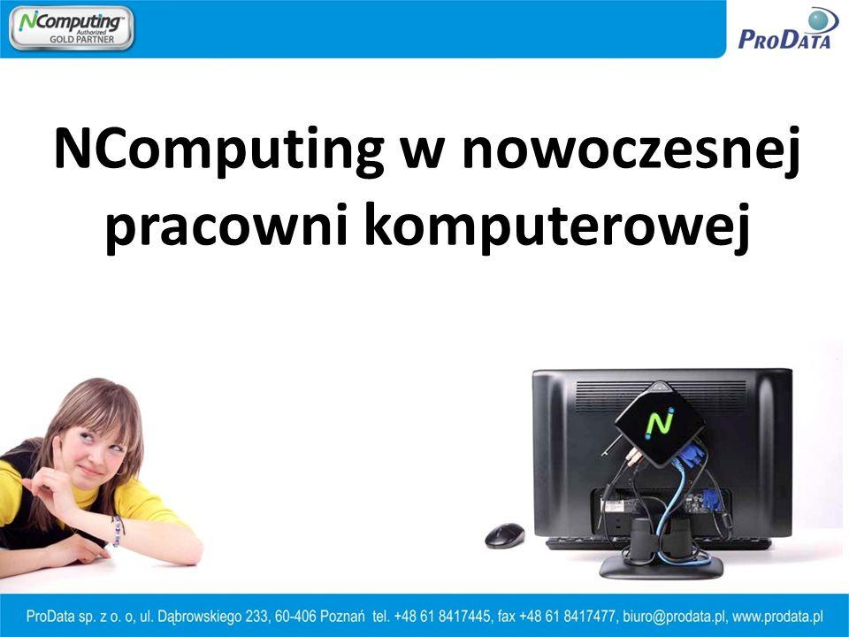 20 x KomputerPC 20 x Komputer PC 1600W (8 godzin dziennie * 200 dni w roku) NComputing – technologia proekologiczna 20 x Terminal 100W (8 godzin dziennie * 200 dni w roku)
