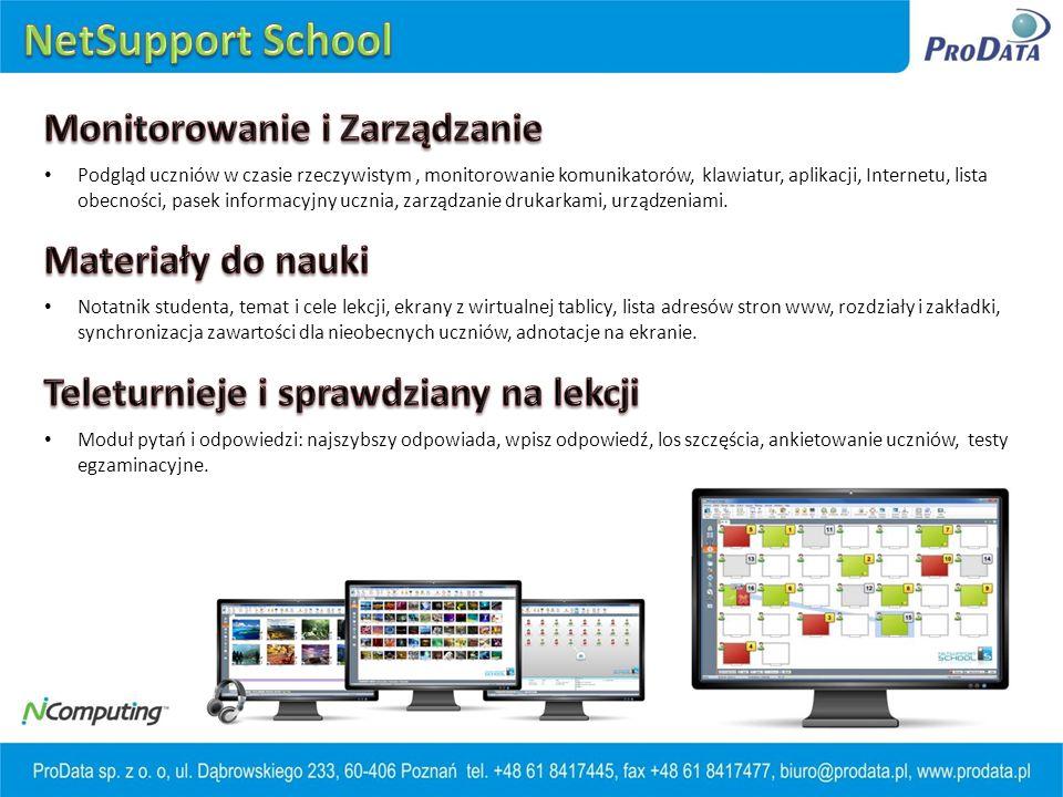 Podgląd uczniów w czasie rzeczywistym, monitorowanie komunikatorów, klawiatur, aplikacji, Internetu, lista obecności, pasek informacyjny ucznia, zarządzanie drukarkami, urządzeniami.