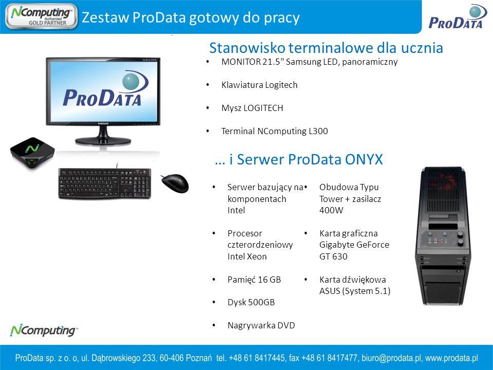 Zestaw ProData gotowy do pracy MONITOR 21.5 Samsung LED, panoramiczny Klawiatura Logitech Mysz LOGITECH Terminal NComputing L300 Stanowisko terminalowe dla ucznia … i Serwer ProData ONYX Serwer bazujący na komponentach Intel Procesor czterordzeniowy Intel Xeon Pamięć 16 GB Dysk 500GB Nagrywarka DVD Obudowa Typu Tower + zasilacz 400W Karta graficzna Gigabyte GeForce GT 630 Karta dźwiękowa ASUS (System 5.1)
