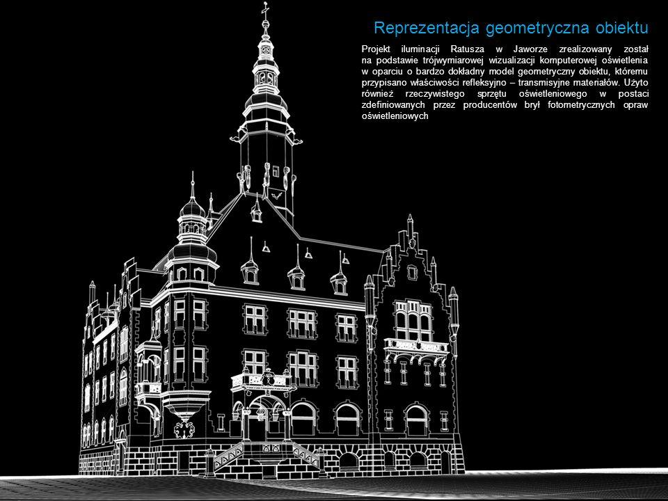 Reprezentacja geometryczna obiektu Projekt iluminacji Ratusza w Jaworze zrealizowany został na podstawie trójwymiarowej wizualizacji komputerowej oświ