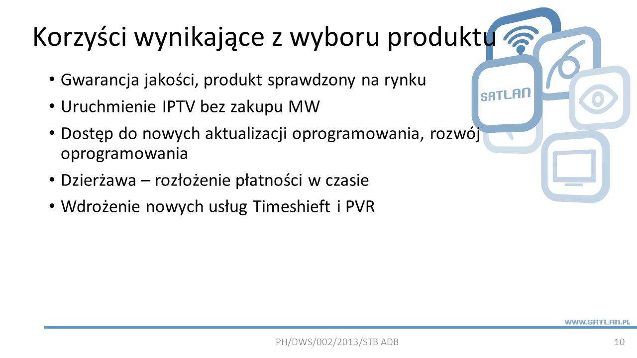 Korzyści wynikające z wyboru produktu 10 Gwarancja jakości, produkt sprawdzony na rynku Uruchmienie IPTV bez zakupu MW Dostęp do nowych aktualizacji oprogramowania, rozwój oprogramowania Dzierżawa – rozłożenie płatności w czasie Wdrożenie nowych usług Timeshieft i PVR PH/DWS/002/2013/STB ADB