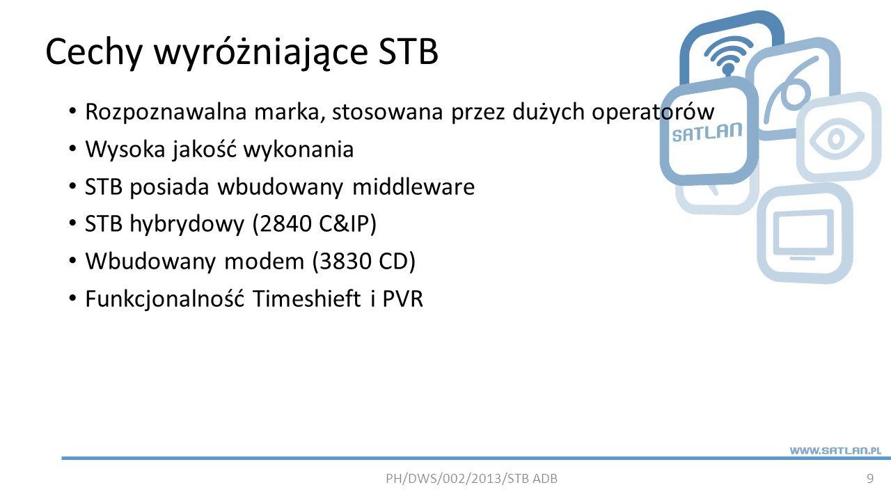 Cechy wyróżniające STB 9 Rozpoznawalna marka, stosowana przez dużych operatorów Wysoka jakość wykonania STB posiada wbudowany middleware STB hybrydowy (2840 C&IP) Wbudowany modem (3830 CD) Funkcjonalność Timeshieft i PVR PH/DWS/002/2013/STB ADB