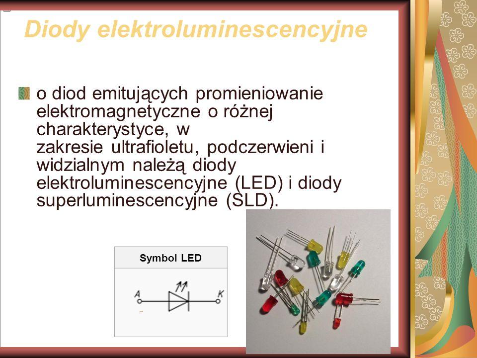 Diody elektroluminescencyjne o diod emitujących promieniowanie elektromagnetyczne o różnej charakterystyce, w zakresie ultrafioletu, podczerwieni i widzialnym należą diody elektroluminescencyjne (LED) i diody superluminescencyjne (SLD).