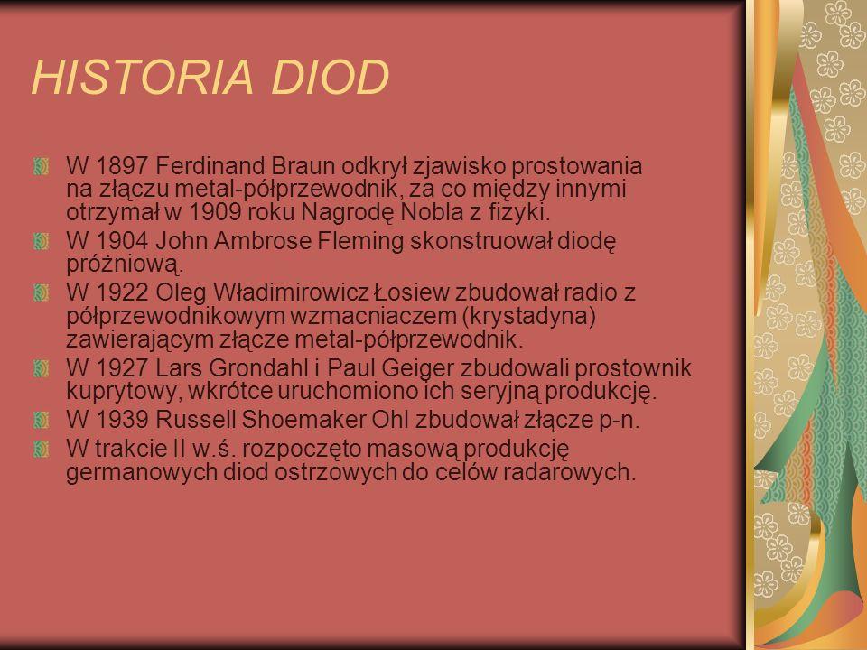 HISTORIA DIOD W 1897 Ferdinand Braun odkrył zjawisko prostowania na złączu metal-półprzewodnik, za co między innymi otrzymał w 1909 roku Nagrodę Nobla