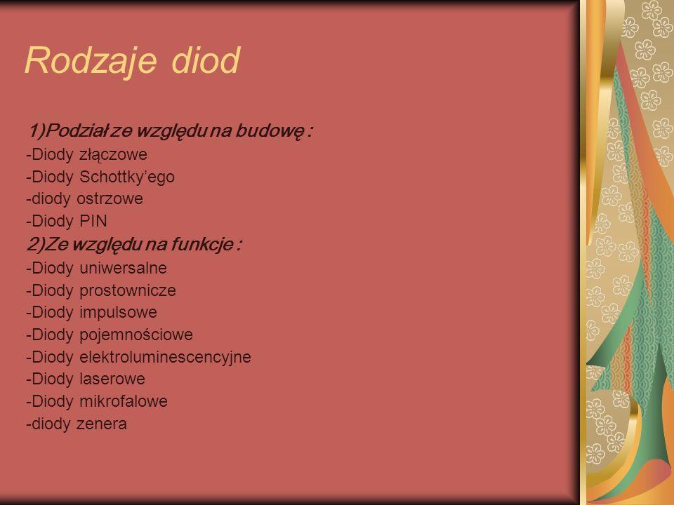 Rodzaje diod 1)Podział ze względu na budowę : -Diody złączowe -Diody Schottkyego -diody ostrzowe -Diody PIN 2)Ze względu na funkcje : -Diody uniwersalne -Diody prostownicze -Diody impulsowe -Diody pojemnościowe -Diody elektroluminescencyjne -Diody laserowe -Diody mikrofalowe -diody zenera
