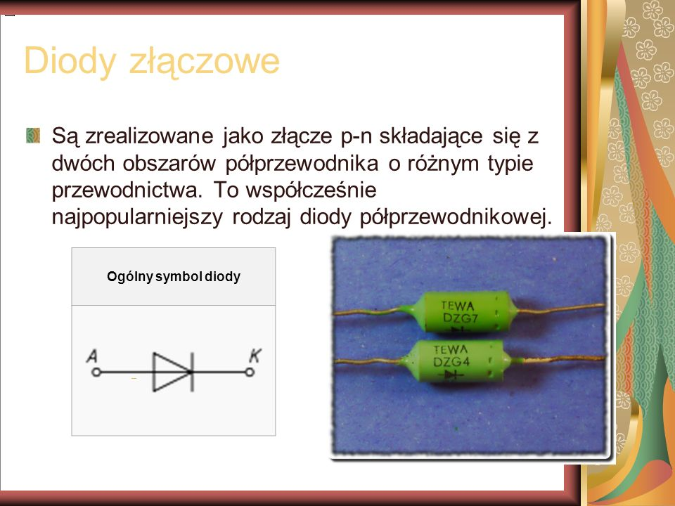 Diody Zenera Diody Zenera (stabilistory) mają określone napięcie w kierunku zaporowym, przy którym zaczyna gwałtownie wzrastać ich prąd wsteczny.