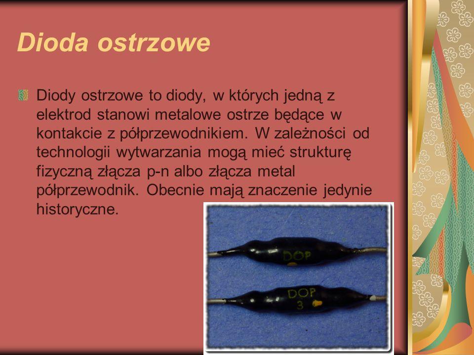 Dioda ostrzowe Diody ostrzowe to diody, w których jedną z elektrod stanowi metalowe ostrze będące w kontakcie z półprzewodnikiem.