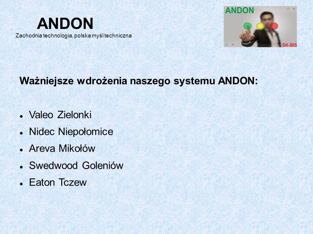 Ważniejsze wdrożenia naszego systemu ANDON: Valeo Zielonki Nidec Niepołomice Areva Mikołów Swedwood Goleniów Eaton Tczew ANDON Zachodnia technologia, polska myśl techniczna
