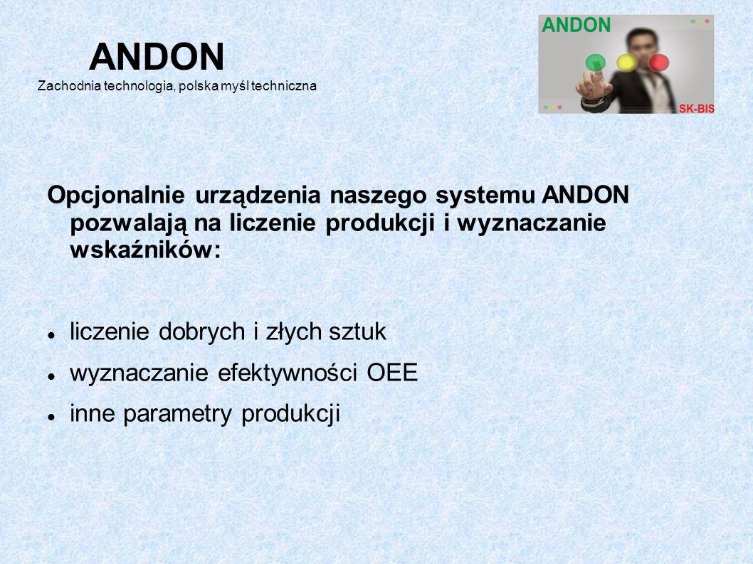 Opcjonalnie urządzenia naszego systemu ANDON pozwalają na liczenie produkcji i wyznaczanie wskaźników: liczenie dobrych i złych sztuk wyznaczanie efektywności OEE inne parametry produkcji ANDON Zachodnia technologia, polska myśl techniczna