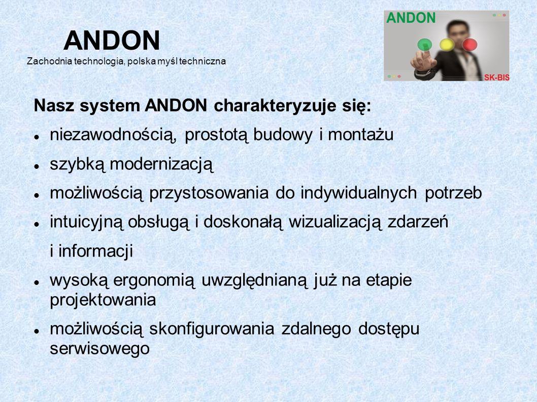 Nasz system ANDON charakteryzuje się: niezawodnością, prostotą budowy i montażu szybką modernizacją możliwością przystosowania do indywidualnych potrzeb intuicyjną obsługą i doskonałą wizualizacją zdarzeń i informacji wysoką ergonomią uwzględnianą już na etapie projektowania możliwością skonfigurowania zdalnego dostępu serwisowego ANDON Zachodnia technologia, polska myśl techniczna