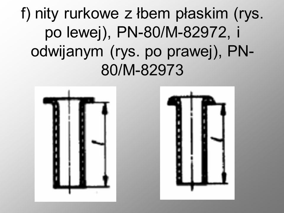 e) nity z łbem trapezowym PN- 70/M-82959