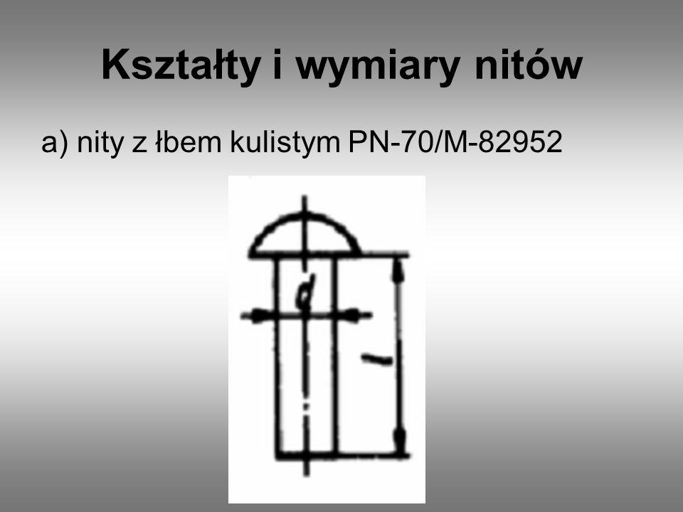Kształty i wymiary nitów a) nity z łbem kulistym PN-70/M-82952