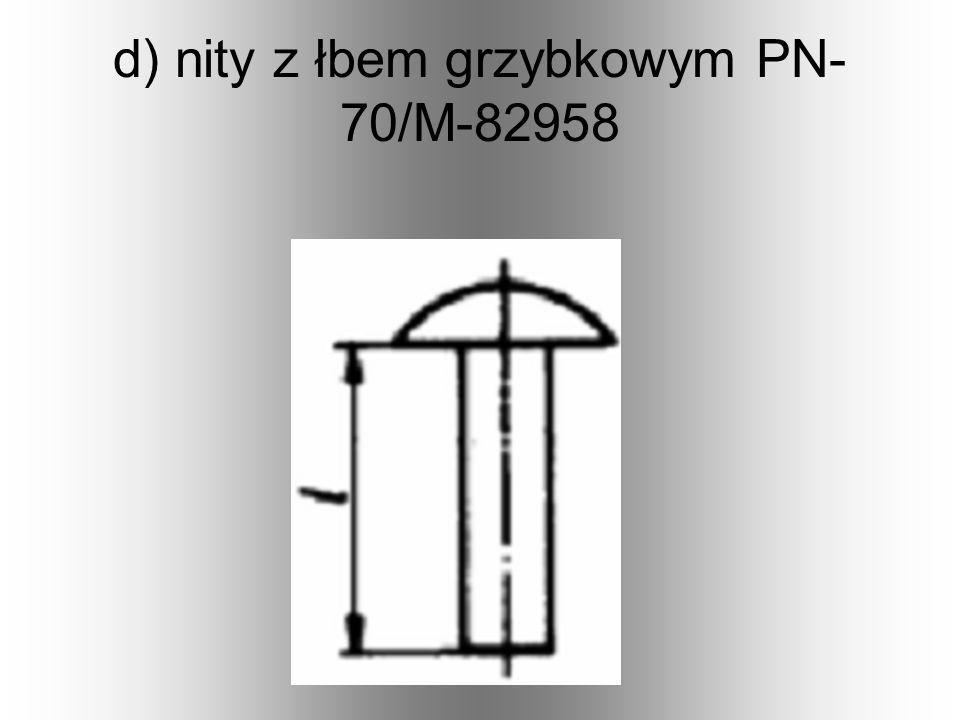 c) nity z łbem soczewkowym zwykłym (rys. po lewej), PN-70/M- 82957 i niskim (rys. po prawej), PN-70/M-82956,
