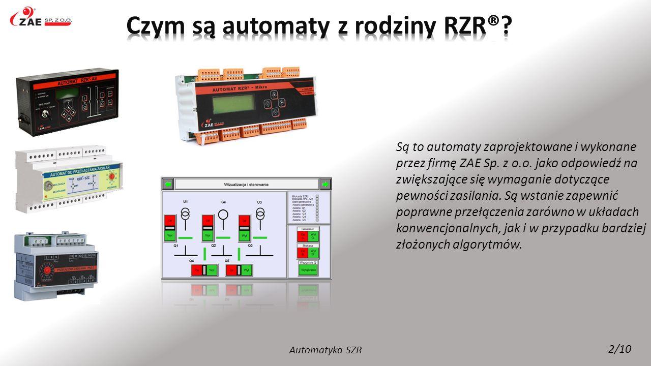 Automatyka SZR 2/10 Są to automaty zaprojektowane i wykonane przez firmę ZAE Sp. z o.o. jako odpowiedź na zwiększające się wymaganie dotyczące pewnośc