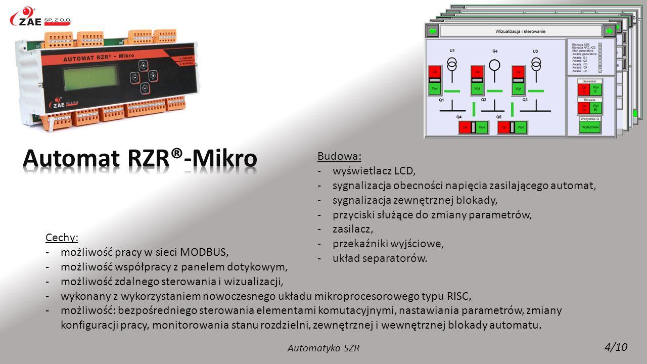 Budowa: -wyświetlacz LCD, -sygnalizacja LED obecności napięcia zasilającego automat, -sygnalizacja LED zewnętrznej blokady, -sygnalizacja LED obecności napięcia nadzorowanych torów zasilania rozdzielni, -6 chwilowych przycisków do sterowania wyłącznikami, -4 przyciski nawigacyjne, -dwupozycyjny przełącznik trybu pracy wraz z kluczykiem.