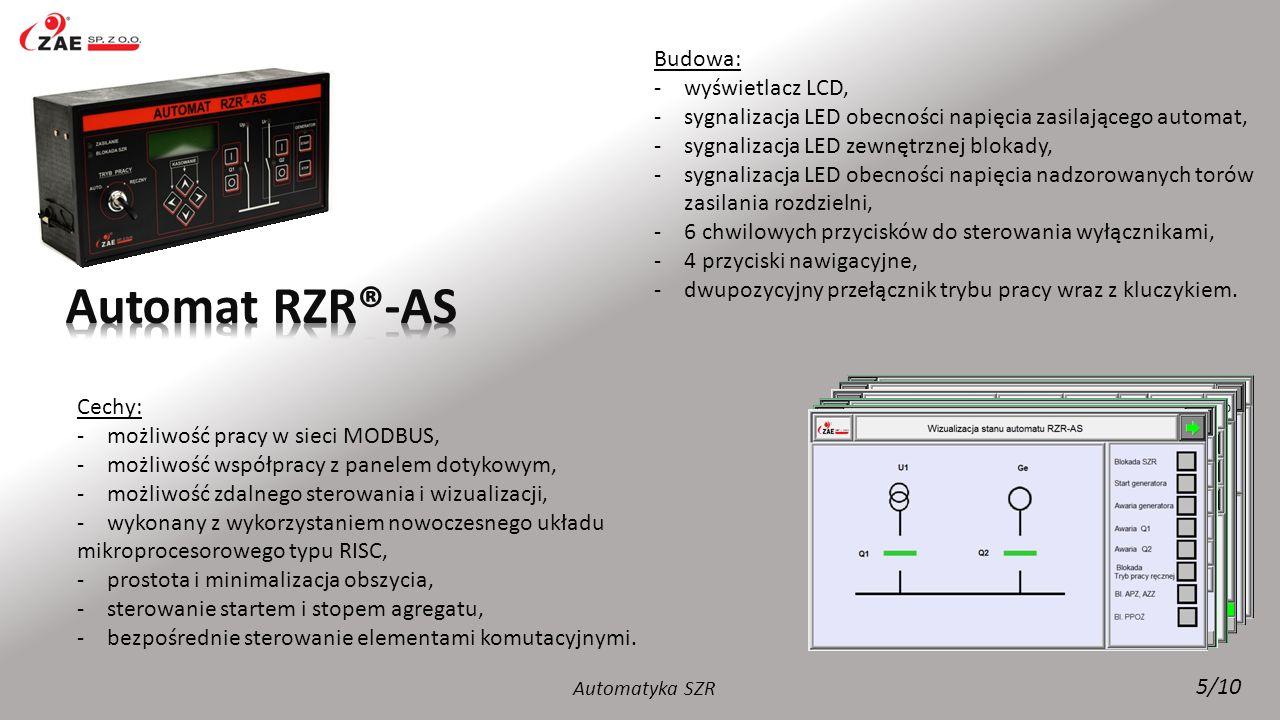 Budowa: -wyświetlacz LCD, -sygnalizacja LED obecności napięcia zasilającego automat, -sygnalizacja LED zewnętrznej blokady, -sygnalizacja LED obecnośc