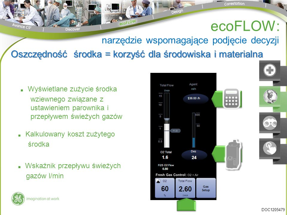 . Wyświetlane zużycie środka wziewnego związane z ustawieniem parownika i przepływem świeżych gazów Oszczędność środka = korzyść dla środowiska i mate
