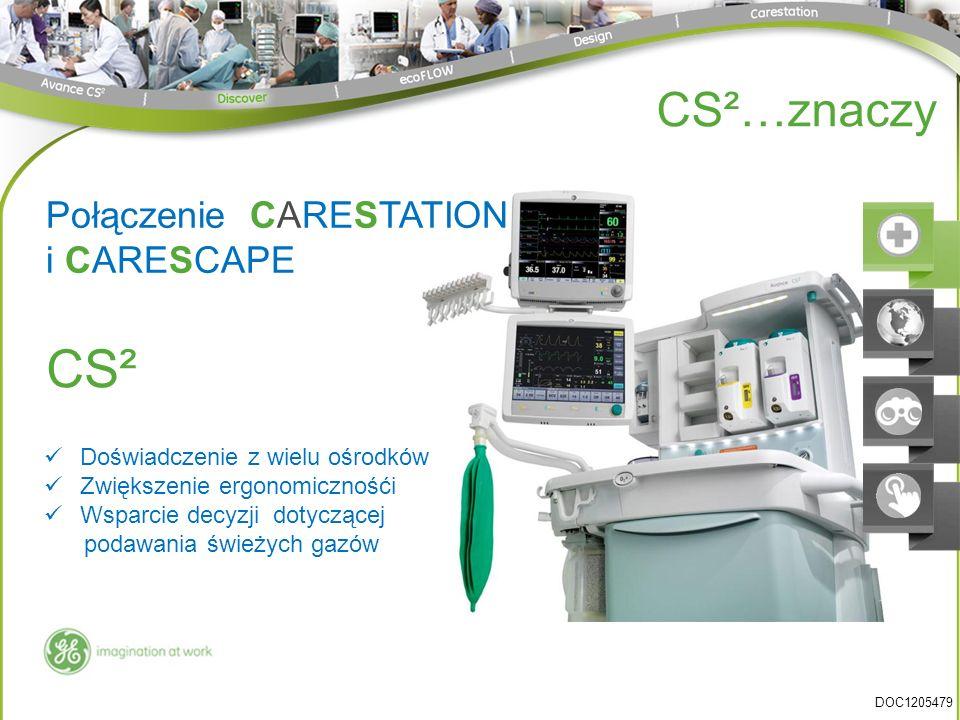 Połączenie CARESTATION i CARESCAPE Doświadczenie z wielu ośrodków Zwiększenie ergonomicznośći Wsparcie decyzji dotyczącej podawania świeżych gazów CS² CS²…znaczy DOC1205479