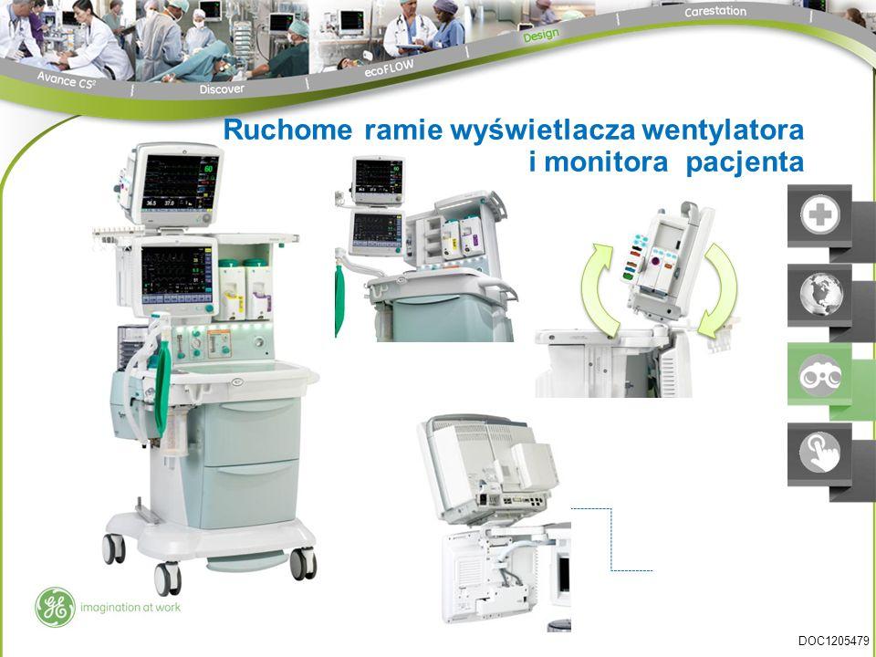 Ruchome ramie wyświetlacza wentylatora i monitora pacjenta DOC1205479