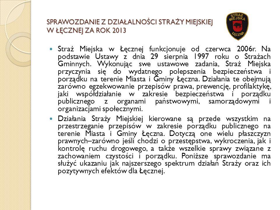 SPRAWOZDANIE Z DZIAŁALNOŚCI STRAŻY MIEJSKIEJ W ŁĘCZNEJ ZA ROK 2013 Straż Miejska w Łęcznej funkcjonuje od czerwca 2006r. Na podstawie Ustawy z dnia 29