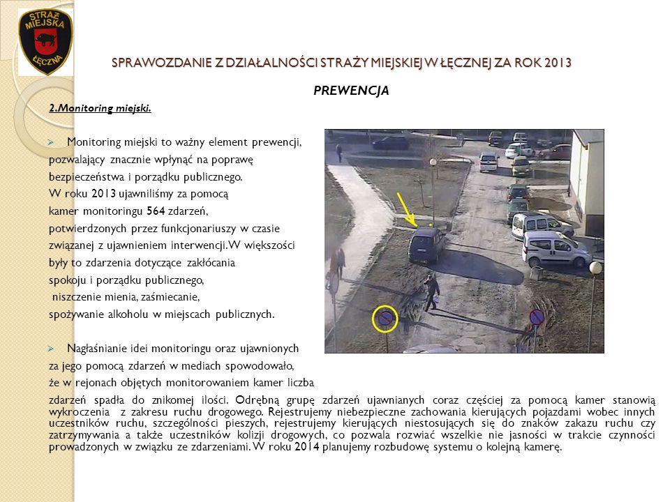 SPRAWOZDANIE Z DZIAŁALNOŚCI STRAŻY MIEJSKIEJ W ŁĘCZNEJ ZA ROK 2013 PREWENCJA 2.Monitoring miejski. Monitoring miejski to ważny element prewencji, pozw